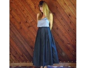 20% off SUMMER SALE. . . Navy Taffeta High Waist Maxi Ball Skirt - Vintage 80s - SMALL