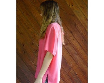 20% off SUMMER SALE. . . Hot Pink Silk s/s Blouse Top - Vintage 90s - XL