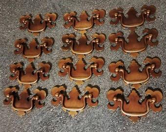Set of 12 Vintage Brass Drawer Pulls