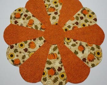Fall Pumpkins Table Topper Reverses to Olive Modern or Retro Print
