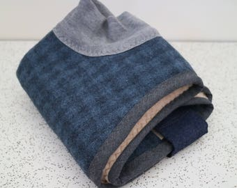 checks in navy and grey...winter coat for a whippet puppy or italian greyhound in wool and fleece