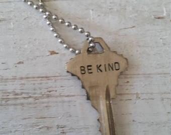 Hand Stamped Vintage Key Necklace Be kind