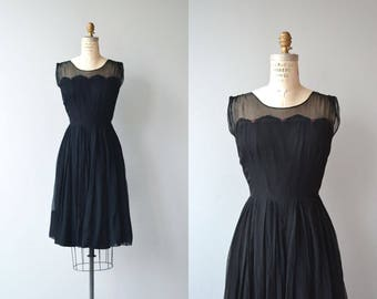 Secret History dress | vintage 1950s dress | black silk chiffon 50s dress