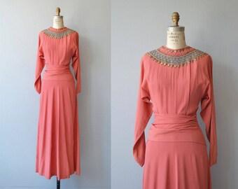 Temple of Luxor dress   vintage 1940s dress   long 40s cocktail dress