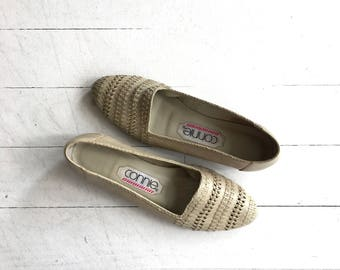 Oyster Woven skimmers | vintage woven leather flats | 1980s woven leather wedges