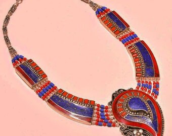 "Nepalese Silver Lapis Lazuli and Red Coral 18"" Necklace with fabulous paisley medallion!"