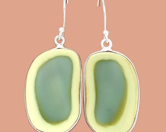 Royal Imperial Jasper Free Form Sterling Silver Earrings in Green and Yellow Hues