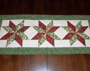 Holiday Christmas, Quilted Table Runner, Table Topper, Fabric Centerpiece, Machine Quilted, 17x40 Inches, Evening Star, Dining Table Decor