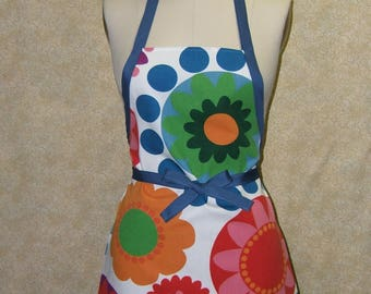 Color riot apron blue tie chefapron cotton canvas geometric dots circles in psychedelic flower pattern