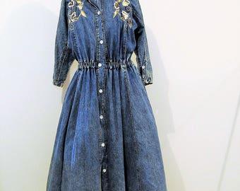 Vintage Dress Denim Swing with Glitz