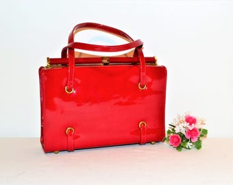 Vintage 1960's Red Patent Bombshell Purse
