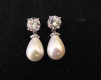 Pearl drop earrings bridal wedding vintage style Art Deco 1920/30s style pearl crystal drop wedding bridal earrings silver wedding jewelry