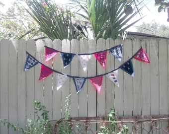 Preppy Nautical Red White Blue Fabric Bunting Flag Banner Swag