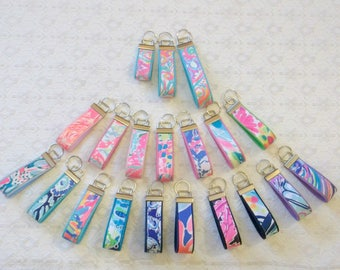 Preppy Colorful Lilly Fabric Key Chain Key Fob 3 Sizes Optional Bow