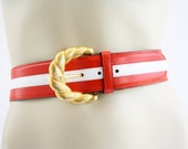 "Vintage Red and White Stripe Leather ESCADA Woman's 2"" Wide Leather Belt with Gold Accent"