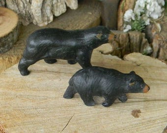 Black  Bear & cub miniature ceramic  animal for terrariums gnome and fairy gardens
