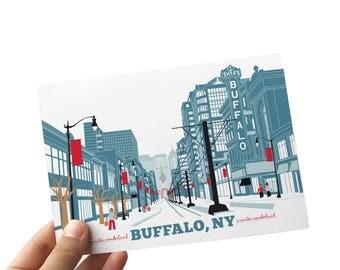 A Buffalo Christmas with Buffalo Cards for the Holidays, A Winter Wonderland, Buffalo Art Print, 8 x 10 Buffalo NY Art