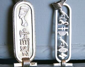 Sterling Silver Hieroglyphic Cartouche Pendants