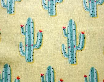Cactus Fabric - Cotton Fabric Cactus Print - Smiling Cactus - Fat Quarter
