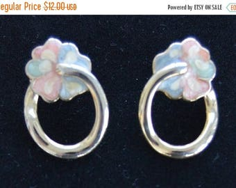 ON SALE Pretty Vintage Gold tone, Pastel Floral Hoop Pierced Earrings