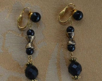 ON SALE Pretty Vintage Black Faceted Beaded Dangle Clip Earrings, Gold tone