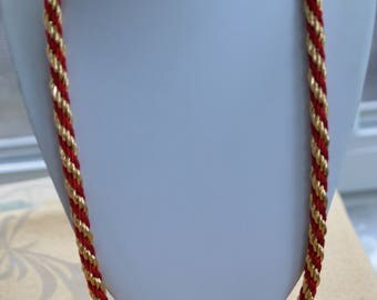 """Red, Gold tone Twisted Rope Necklace, Vintage, 30"""" (TB65)"""