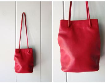 Vintage Cranberry Red Soft Leather Purse Long Cross Body Shoulder Strap Bag Small Sized Simple Basic Purse Supple Leather Bag Minimal 90s
