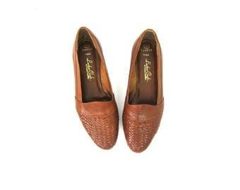 Vintage Brown Leather Shoes Short Heels Preppy Simple Slip on Flats Loafers Moccasins Womens Size 8