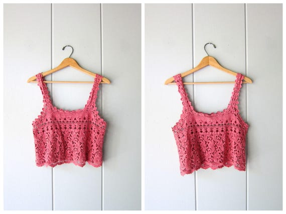 90s Open Knit Crochet Tank Top Cut Out Knit Top SHEER Knit Cotton Summer Crop Top Vintage Hipster Cropped Top DES Womens XS Small