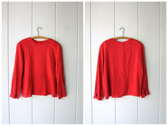 Red Linen & Rayon Blouse 90s Pleated Modern Blouse Casual Long Sleeve Shirt with Buttons Up the Back Vintage Minimal Top Womens 14 Large