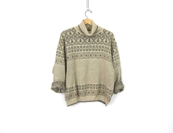 Vintage Turtleneck Sweater Oatmeal Brown & Green Snowflake sweater pullover top womens Preppy Ski sweater Size Large