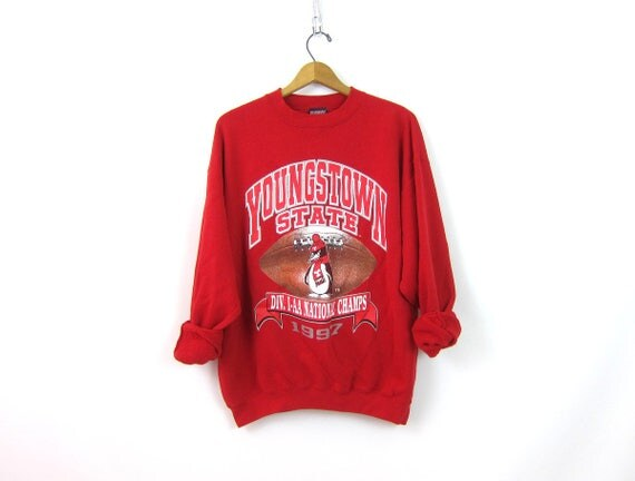 RED Youngstown State Penguins sweatshirt Baggy 1997 sweatshirt vintage SAVVY souvenir Preppy crewneck Football pullover size Large