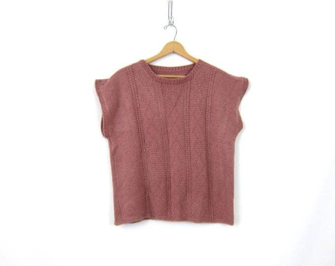 80s Mauve Sweater Top Woven Knit Sweater Vest Top Minimal Layering Vest Prairie Boho Peasant Minimalist Shirt Womens Size XL