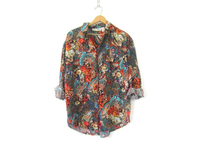 AMAZING Vintage Silk Blouse 80s Button Up Top Long Sleeve Slouchy Floral Print Pattern Modern Minimal Top Flower Pattern Womens size Medium