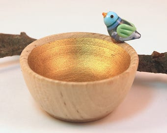 Lampwork Glass Blue Birdie Bowl Tiny Wood & Gold Trinket Dish