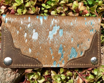 Turquoise cowhide wallet