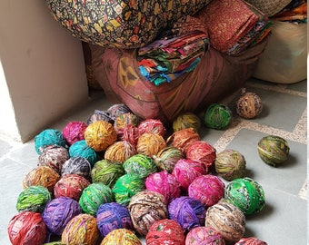 Sari Yarn- recycled sari silk stitched into yarn