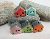 5 Raku House Beads...Red Lagune Pink Green Orange