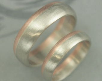 Two Tone Wedding Set~His and Hers Bands~Gold Wedding Band Set~Bicolor Wedding Band~6mm and 4mm~Bimetal Wedding Rings~Wedding Ring Set