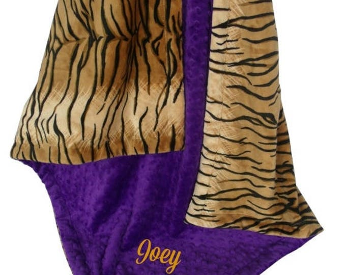SALE Minky Baby Blanket in Tiger Print with Purple Minky Dot, Three SizesCan Be Personalized