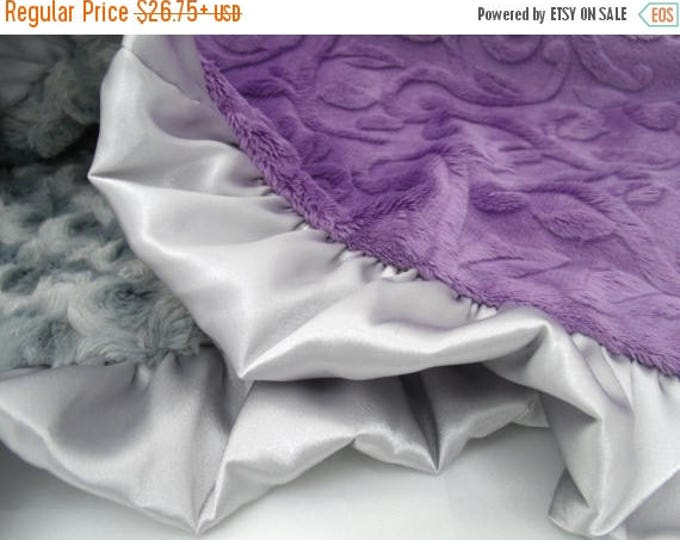 SALE Purple Vine and Gray Rose Swirl Minky Baby Blanket - Toddler and Adult Blankets Also AvailableCan Be Personalized