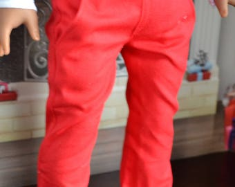 18 inch Doll Clothes - Red Chinos - Trouser Pants - for BOY or GIRL - fit American Girl