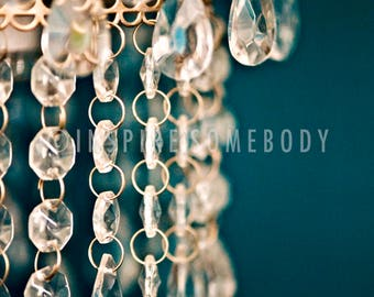 FANCY 8x12 Micro Crystal and Gold Chandelier Fine Art Print