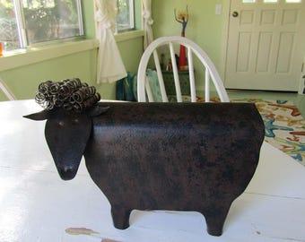 Metal wall sculpture Folk art decor sheep 3D recycled metal sculpture barn yard farm animal lamb goat kitchen  6 x 9