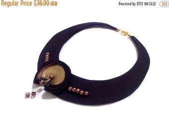 """40% OFF SALE Copper bib leather necklace with pearls Statement necklace Leather jewelry """"Geometry of Metamorphose"""" collection"""