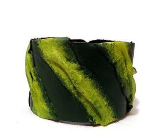 40% OFF SALE Green Casual Leather bracelet Womens fashion Cuff Wristband Bangle