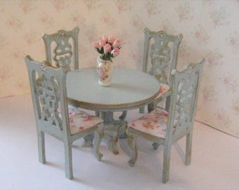 Dollhouse table, round table, four  chairs, round , Dollhouse table set, Duck egg blue one twelfth scale, dollhouse miniature