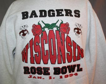 Vintage White UW Wisconsin Rose Bowl Sweatshirt, 1994