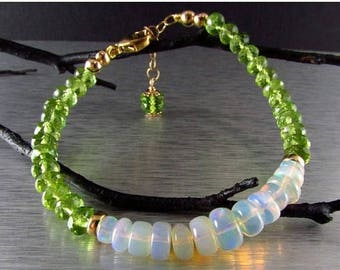 15% Off Ethiopian Opal With Peridot Gold Filled Adjustable Bracelet