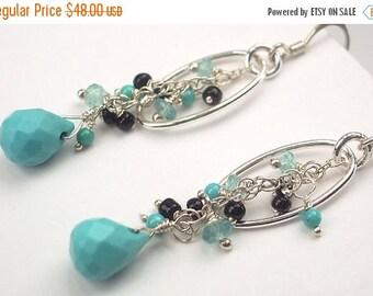 30% SALE Long Bohemian Turquoise Dangle Earrings Wire Wrapped Sterling Silver Hoop Earrings Arizona Turquoise Boho Chic